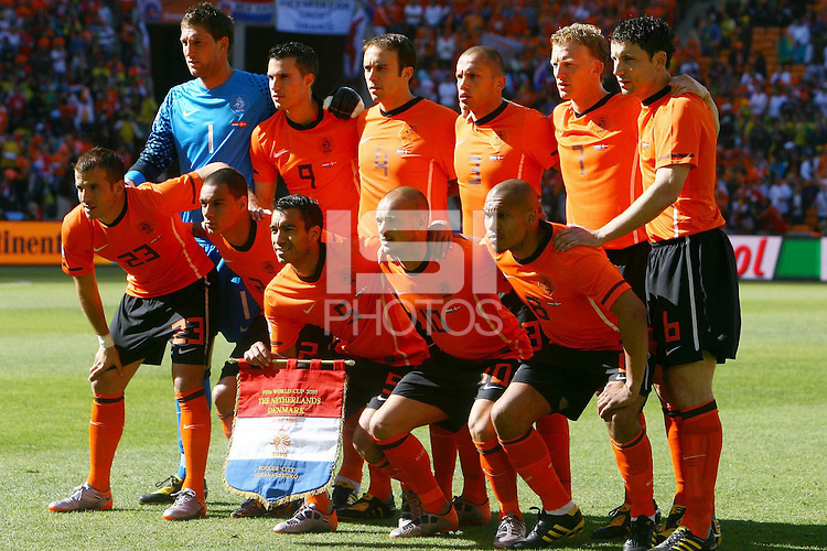 The Holland team line up before the game against Denmark.