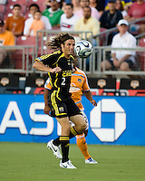 Columbus Crew defender Frankie Hejduk (2) eyes the ball. The Houston Dynamo tied the Columbus Crew 1-1 in a regular season MLS match at Robertson Stadium in Houston, TX on August 25, 2007.