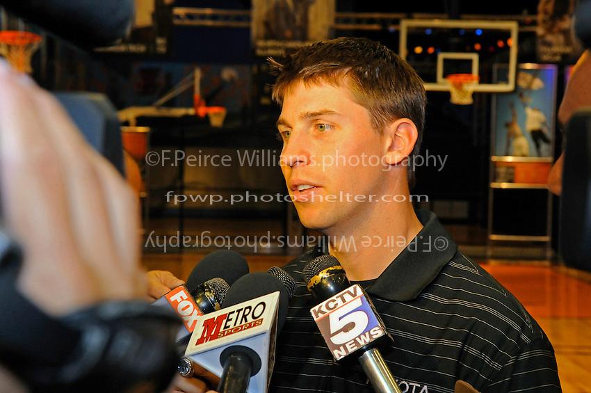 30 September, 2010, Kansas City, Kansas USA.Denny Hamlin in interviewed by local media at The College Basketball Experience..©2010, F. Peirce Williams, USA.