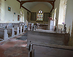 Historic interior unchanged since 18th century, Church of Saint Mary, Badley, Suffolk, England, UK
