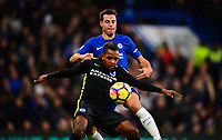 Jose Izquierdo of Brighton holds off Cesar Azpilicueta of Chelsea during the EPL - Premier League match between Chelsea and Brighton and Hove Albion at Stamford Bridge, London, England on 26 December 2017. Photo by PRiME Media Images.