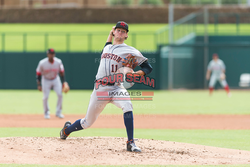Scottsdale Scorpions starting pitcher Forrest Whitley (11), of the Houston Astros organization, delivers a pitch during an Arizona Fall League game against the Glendale Desert Dogs at Camelback Ranch on October 16, 2018 in Glendale, Arizona. Scottsdale defeated Glendale 6-1. (Zachary Lucy/Four Seam Images)