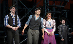 Ben Frankhauser, Jeremy Jordan, Kara Lindsay & Matthew J. Schechter.during the 'NEWSIES' Opening Night Curtain Call at the Nederlander Theatre in New York on 3/29/2012