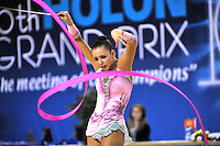 Daria Dmitrieva of Russia performs with ribbon during Event Finals at Holon Grand Prix, Israel on March 5, 2011.  (Photo by Tom Theobald).