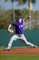 Kentucky Wesleyan Panthers pitcher Spencer Otto (50) during a game against Slippery Rock University on March 9, 2015 at Jack Russell Stadium in Clearwater, Florida.  Kentucky Wesleyan defeated Slippery Rock 5-4.  (Mike Janes/Four Seam Images)