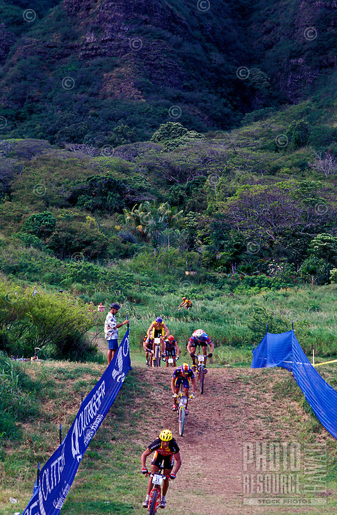 Bike race at Kualoa Ranch, northeast side of Oahu