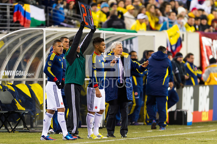Colombia head coach Jose Nestor Pekerman about to sub in Teofilo Gutierrez (19). Brazil (BRA) and Colombia (COL) played to a 1-1 tie during international friendly at MetLife Stadium in East Rutherford, NJ, on November 14, 2012.