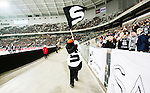 Stockholm 2015-03-14 Bandy SM-final herrar Sandvikens AIK - V&auml;ster&aring;s SK :  <br /> Sandvikens supportrar och maskot Pigge under matchen mellan Sandvikens AIK och V&auml;ster&aring;s SK <br /> (Foto: Kenta J&ouml;nsson) Nyckelord:  SM SM-final final Bandyfinal Bandyfinalen herr herrar VSK V&auml;ster&aring;s SAIK Sandviken supporter fans publik supporters