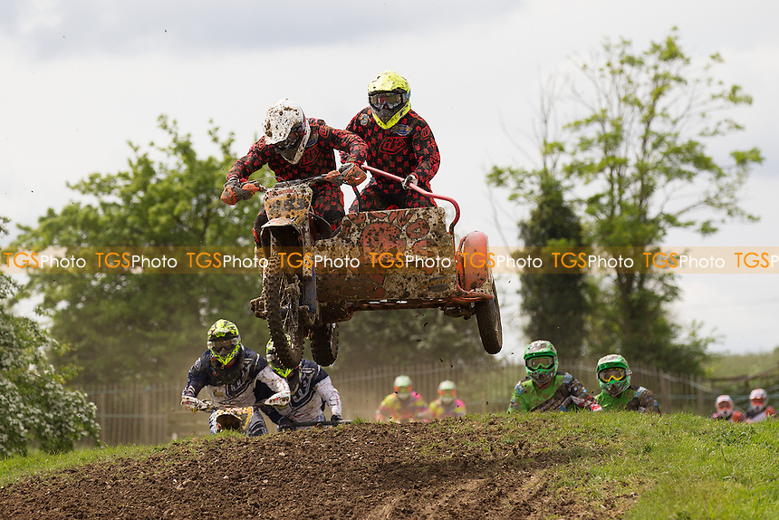 Neil Hiscock and Steve Baughan in action during ACU British Sidecar Cross Championship Round Three at Wattisfield Hall MX Track on 22nd May 2016
