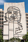 Havana, Cuba; erected in 1995, the seven story mural of Che Guevara is on the Ministry of the Interior building just off Revolution Plaza, the words Hasta la Victoria Siempre translates to Always Toward Victory