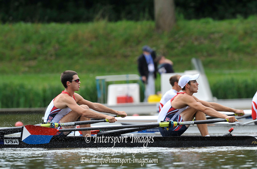 Amsterdam, NETHERLANDS, USA BLM2X. Bow Edward O'NEILL and Dylan GOULD. 2011 FISA U23 World Rowing Championships, Friday, 22/07/2011 [Mandatory credit:Peter Spurrier  Intersport Images].