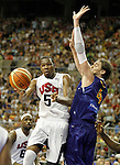 Spain's Pau Gasol (r) and USA's Kevin Durant during friendly match.July 24,2012. (ALTERPHOTOS/Acero)