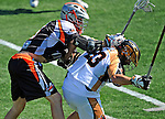 24 August 2008: Rochester Rattlers' Goalkeeper Brett Queener (right) is checked by Denver Outlaws' Midfielder Jeff Sonke (left) during the Championship Game of the Major League Lacrosse Championship Weekend at Harvard Stadium in Boston, MA. The Rattles took control of the second half and outscored the Outlaws 16-6 to take the league honor for the 2008 season...Mandatory Photo Credit: Ed Wolfstein Photo