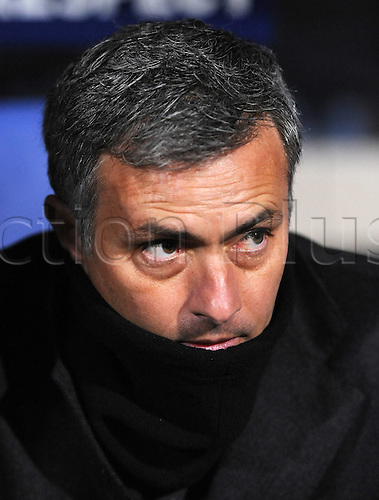 22.02.2011 Real Madrid will be favourites to progress to the Champions League quarter-finals for the first time in seven years after a 1-1 draw at the Stade de Gerland in Lyon. Picture shows Real Madrid team manager Jose Mourinho Real Madrid