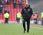 Chris Wilder manager of Sheffield Utd walks off on the final whistle during the championship match at the Oakwell Stadium, Barnsley. Picture date 7th April 2018. Picture credit should read: Simon Bellis/Sportimage