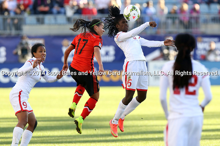 26 October 2014: Khadidra Debessete (TRI) (6) and Veronica Perez (MEX) (17). The Trinidad & Tobago Women's National Team played the Mexico Women's National Team at PPL Park in Chester, Pennsylvania in the 2014 CONCACAF Women's Championship Third Place game. Mexico won the game 4-2 after extra time. With the win, Mexico qualified for next year's Women's World Cup in Canada and Trinidad & Tobago face playoff for spot against Ecuador.