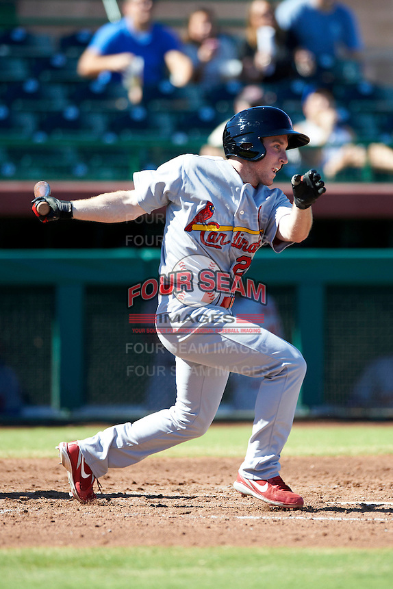 Surprise Saguaros designated hitter Mike O'Neill #23, of the St. Louis Cardinals organization, during an Arizona Fall League game against the Scottsdale Scorpions at Scottsdale Stadium on October 16, 2012 in Scottsdale, Arizona.  Surprise defeated Scottsdale 11-3.  (Mike Janes/Four Seam Images)