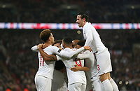 England's Trent Alexander-Arnold celebrates scoring his side's second goal  with his team mates<br /> <br /> Photographer Rob Newell/CameraSport<br /> <br /> The Wayne Rooney Foundation International - England v United States - Thursday 15th November 2018 - Wembley Stadium - London<br /> <br /> World Copyright © 2018 CameraSport. All rights reserved. 43 Linden Ave. Countesthorpe. Leicester. England. LE8 5PG - Tel: +44 (0) 116 277 4147 - admin@camerasport.com - www.camerasport.com