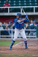 Ogden Raptors left fielder Daniel Robinson (50) at bat during a Pioneer League game against the Orem Owlz at Home of the OWLZ on August 24, 2018 in Orem, Utah. The Ogden Raptors defeated the Orem Owlz by a score of 13-5. (Zachary Lucy/Four Seam Images)