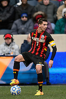 Maryland Terrapins midfielder Dan Metzger (7). The Notre Dame Fighting Irish defeated the Maryland Terrapins 2-1 during the championship match of the division 1 2013 NCAA  Men's Soccer College Cup at PPL Park in Chester, PA, on December 15, 2013.