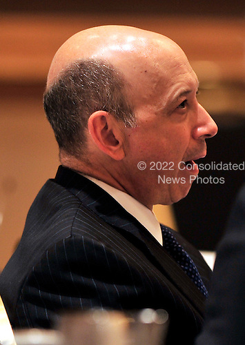 Lloyd Blankfein, Chairman and Chief Executive Officer, The Goldman Sachs Group, Inc. (GSI) yawns as he listens to United States President Barack Obama delivering remarks to the Business Council at the Park Hyatt Hotel in Washington, D.C. on Tuesday, May 4, 2010.  In his remarks the President also spoke about the attempted bombing in Times Square..Credit: Ron Sachs / Pool via CNP