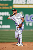Jackson Generals second baseman Ramon Hernandez (12) throws to first base during a Southern League game against the Mississippi Braves on July 23, 2019 at The Ballpark at Jackson in Jackson, Tennessee.  Jackson defeated Mississippi 2-0 in the first game of a doubleheader.  (Mike Janes/Four Seam Images)