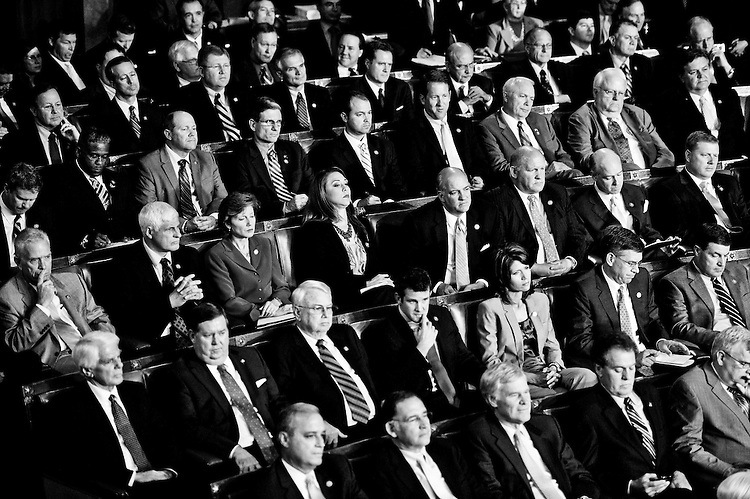 Rep. Heck sits with his fellow House Republicans during President Barack Obama's speech on jobs to a joint session of Congress on Sept. 8, 2011. (Photo By Bill Clark/Roll Call)