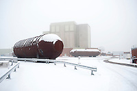 UK. Berkely. 7th December 2010..One of the reactors at Berkely that will soon be sealed until 2074 as part of the Decommissiong programme. In front lie two of the boilers that used to surround the reactor..©Andrew Testa/Panos for the Sunday Times Magazine..