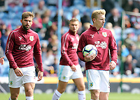 Burnley's Ben Mee (right) and Charlie Taylor during the pre-match warm-up <br /> <br /> Photographer Rich Linley/CameraSport<br /> <br /> The Premier League - Saturday 13th April 2019 - Burnley v Cardiff City - Turf Moor - Burnley<br /> <br /> World Copyright © 2019 CameraSport. All rights reserved. 43 Linden Ave. Countesthorpe. Leicester. England. LE8 5PG - Tel: +44 (0) 116 277 4147 - admin@camerasport.com - www.camerasport.com