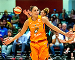 August 27th, 2019: The Phoenix Mercury [orange] defeated the Liberty of New York 95-82 in WNBA action.  The Mercury had a balanced effort in the game played at Westchester County Center in White Plains, New York. Dan Heary/Eclipse Sportswire/CSM: