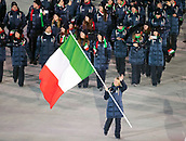 9th February 2018, Pyeongchang, South Korea; 2018 Winter Olympic Games; PyeongChang Olympic Stadium; Short track speed skater Arianna Fontana leading the national team during the Opening ceremony carrying flag of Italy