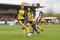 Bolton Wanderers Sammy Ameobi Burton Albion's Tom Naylor<br /> <br /> Photographer Mick Walker/CameraSport<br /> <br /> The EFL Sky Bet Championship - Burton Albion v Bolton Wanderers - Saturday 28th April 2018 - Pirelli Stadium - Burton upon Trent<br /> <br /> World Copyright &copy; 2018 CameraSport. All rights reserved. 43 Linden Ave. Countesthorpe. Leicester. England. LE8 5PG - Tel: +44 (0) 116 277 4147 - admin@camerasport.com - www.camerasport.com