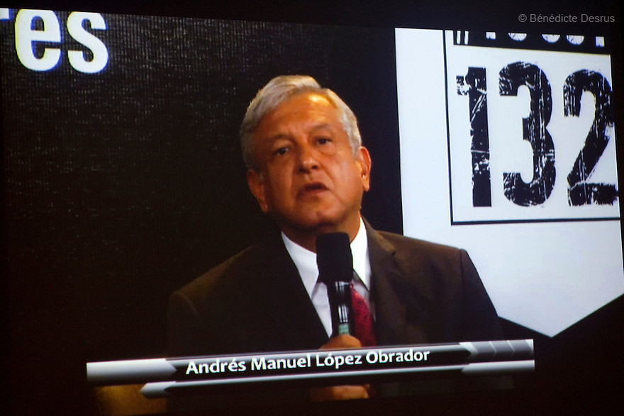 """19 June 2012 - Mexico City, Mexico - Andres Manuel Lopez Obrador, presidential candidate for the Party of the Democratic Revolution (PRD). Mexican presidential candidates attend the 'Debate132' organised by the """"YoSoy132"""" (I am 132) student movement via YouTube. Participating in the debate are presidential candidate Josefina Vazquez Mota of the ruling National Action Party (PAN), moderator Rodrigo Munguia, presidential candidate Andres Manuel Lopez Obrador of the Party of the Democratic Revolution (PRD) and presidential candidate Gabriel Quadri of the New Alliance Party (PANAL). Presidential candidate Enrique Pena Nieto, front-runner of the opposition Institutional Revolutionary Party (PRI), did not attend the event. A general election is to be held in Mexico on July 1. Photo credit: Benedicte Desrus"""