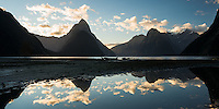 Sunset reflections of Mitre Peak in Milford Sound, Fiordland National Park, UNESCO World Heritage Area, Southland, New Zealand, NZ