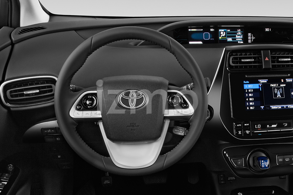 Car pictures of steering wheel view of a 2018 Toyota Prius-Prime Plus 5 Door Hatchback Steering Wheel
