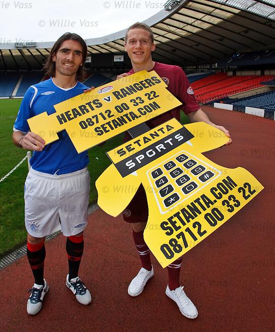 Pedro Mendes and Christophe Berra promote the Hearts v Rangers match for Setanta TV