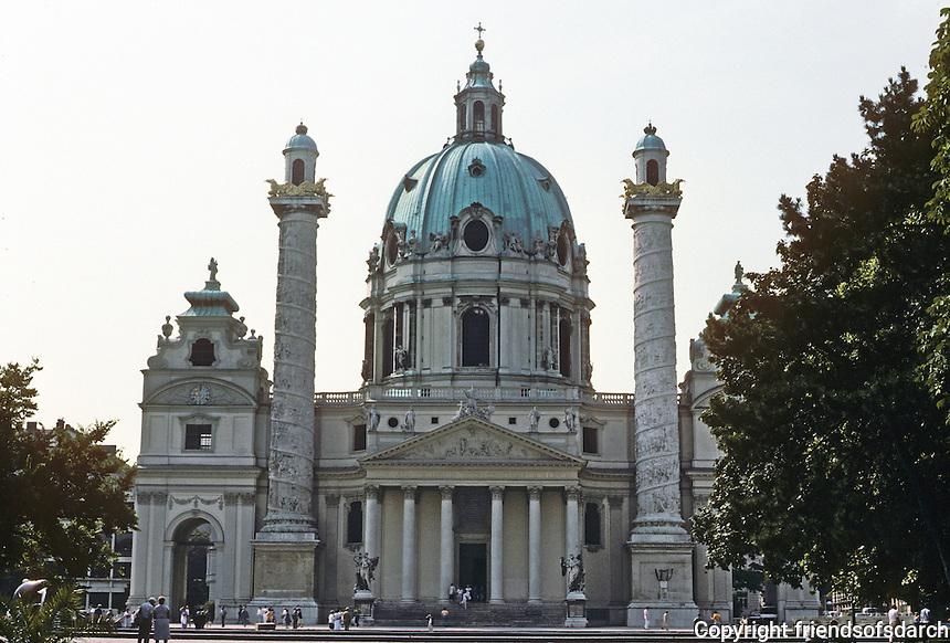 Vienna: Church of St. Charles Borremeo (Karlskirche). Johann Bernhard Fischer Von Erlach, 1716-1722, and his son Josef Emanuel, 1723-1739. Baroque Rococo style. Photo '87.