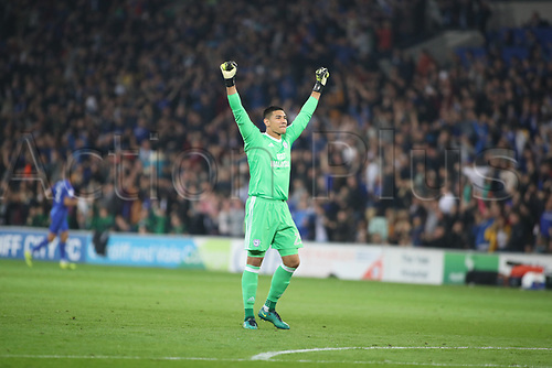 26th September 2017, Cardiff City Stadium, Cardiff, Wales; EFL Championship football, Cardiff City versus Leeds United; Neil Etheridge of Cardiff City celebrates as Cardiff City go 1-0 up in the first half