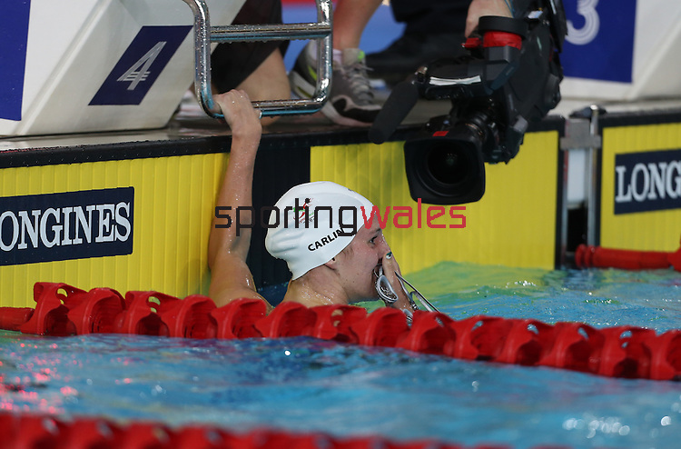 Glasgow 2014 Commonwealth Games<br /> Jazz Carlin in shock after winning gold in the women's 1500m Backstroke.<br /> <br /> 28.07.14<br /> ©Steve Pope-SPORTINGWALES