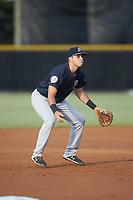 Pulaski Yankees third baseman Chad Bell (63) on defense against the Burlington Royals at Burlington Athletic Stadium on August 25, 2019 in Burlington, North Carolina. The Yankees defeated the Royals 3-0. (Brian Westerholt/Four Seam Images)