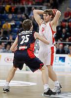 Caja Laboral Baskonia's David Jelinek (l) and CAI Zaragoza's Jon Stefansson during Spanish Basketball King's Cup match.February 07,2013. (ALTERPHOTOS/Acero)
