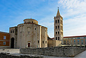 St Donatus'  (St Donat's) church and the Bell Tower of the Cathedral of St. Anastasia, Zadar, Croatia.