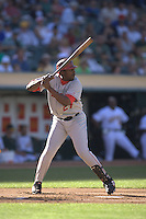 Vladimir Guerrero. Baseball: Los Angeles Angels of Anaheim vs Oakland Athletics at McAfee Coliseum in Oakland, CA on July 8, 2006. Photo by Brad Mangin
