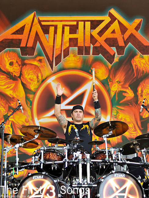 Jason Bittner performs with Anthrax at the 2012 Rockstar Energy Drink Mayhem Festival at Blossom Music Center in Cleveland, Ohio.