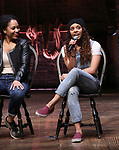 Erin Clemons and Sasha Hollinger  during the an eduHAM Q & A panel with the cast of Broadway's 'Hamilton' at The Richard Rodgers Theatre on May 23, 2018 in New York City.