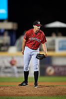 Erie SeaWolves relief pitcher John Schreiber (35) looks in for the sign during a game against the Harrisburg Senators on August 29, 2018 at FNB Field in Harrisburg, Pennsylvania.  Harrisburg defeated Erie 5-4.  (Mike Janes/Four Seam Images)