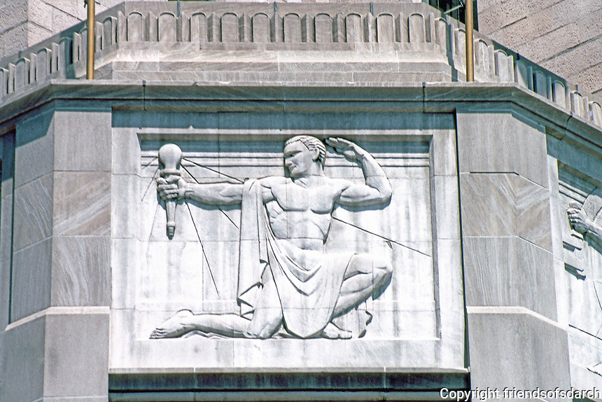 "Los Angeles: Southern California Edison Building--Relief, ""Light"" over entrance by Merrell Gage, 1930-31. Photo '89."