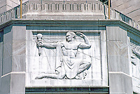 """Los Angeles: Southern California Edison Building--Relief, """"Light"""" over entrance by Merrell Gage, 1930-31. Photo '89."""