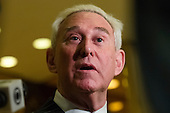 Conservative lobbyist and consultant Roger Stone speaks with the press in the lobby of Trump Tower in New York, New York, USA following a meeting there on December 6, 2016.<br /> Credit: Albin Lohr-Jones / Pool via CNP