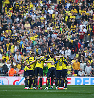 Oxford United player pre match huddle ahead of the The Checkatrade Trophy / EFL Trophy FINAL match between Oxford United and Coventry City at Wembley Stadium, London, England on 2 April 2017. Photo by Andy Rowland.